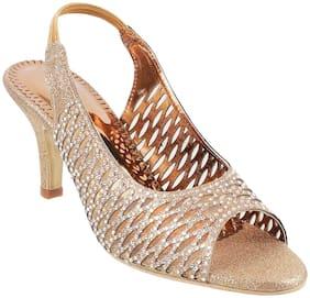 Mochi Women Gold Heeled Sandals