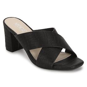 Mode by Red Tape Women Black Mules