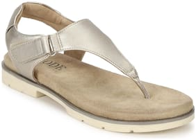 Mode by Red Tape Women Gold T-Strap Flats
