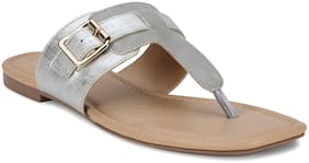Mode by Red Tape Women Grey T-Strap Flats