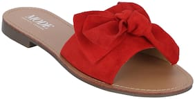 Red Tape Women Red Solid Open-Toe Flats