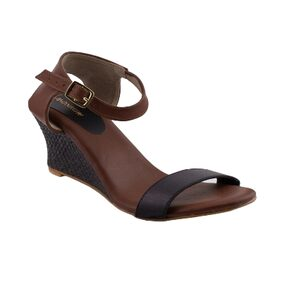 MONROW Brown PU Weave Texture Wedge For Womens and Girls