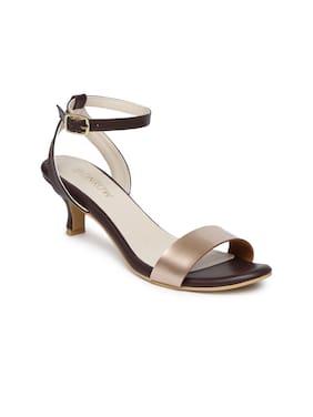 Monrow Women Brown Heeled Sandals