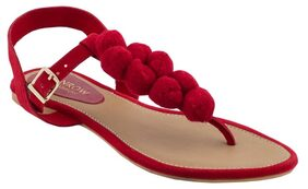 MONROW Red PU Pom Pom at the T Strap Flats For Womens and Girls