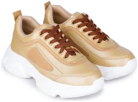 Moonwalk Women Gold Sneakers