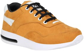 MOU CLOSETS Lace Up Yellow Rbuk Sports Shoes for Men Size - 7