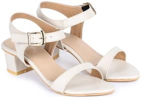 naisha Women White Heeled Sandals