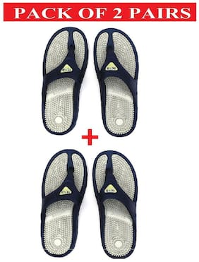 Nexa Accupressure Men's Grey Slippers (Pack of 2 Pairs)