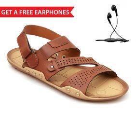 Nexa Men's Tan Sandals + Free Wired Earphones