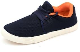 Nexa Navy Blue and Orange Mesh Shoes