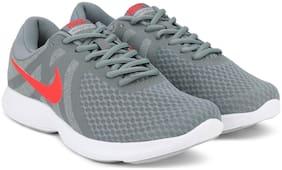 NIKE Men's Revolution 4 Cool Grey/Habanero Red - Wolf Grey - White Running Shoes 908988-013