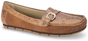 Noreis Tan Round Toe Loafers