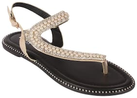 NOTION LONDON Women Gold Sandals
