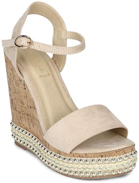 Truffle Collection Nude Ankle Strap Wedges