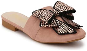 Truffle Collection Nude Bowed Open Back Slip-On Flats