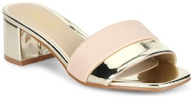Truffle Collection Nude Gold Low Block Sandal Heels