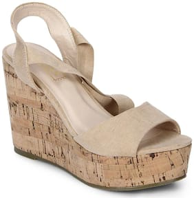 Truffle Collection Nude Lace-Up Wedges
