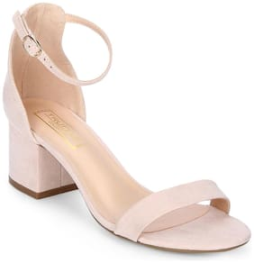 Truffle Collection Nude Micro Ankle Strap Kitten Block Heels