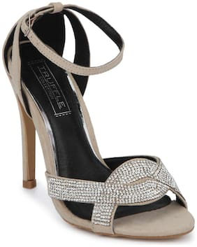 Truffle Collection Nude Micro Diamante  Crossover Ankle Strap Low Stiletto Heels