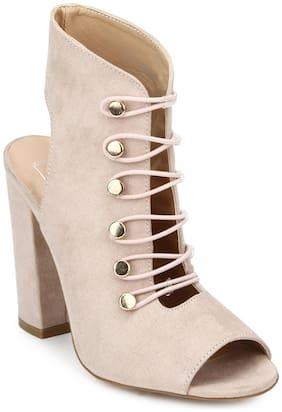 Truffle Collection Nude Micro Lace-up Peep Toe Block Heels