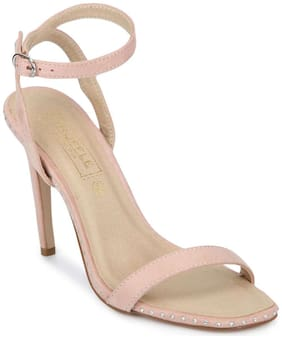 Truffle Collection Nude Micro Studded Ankle Strap Stilettos