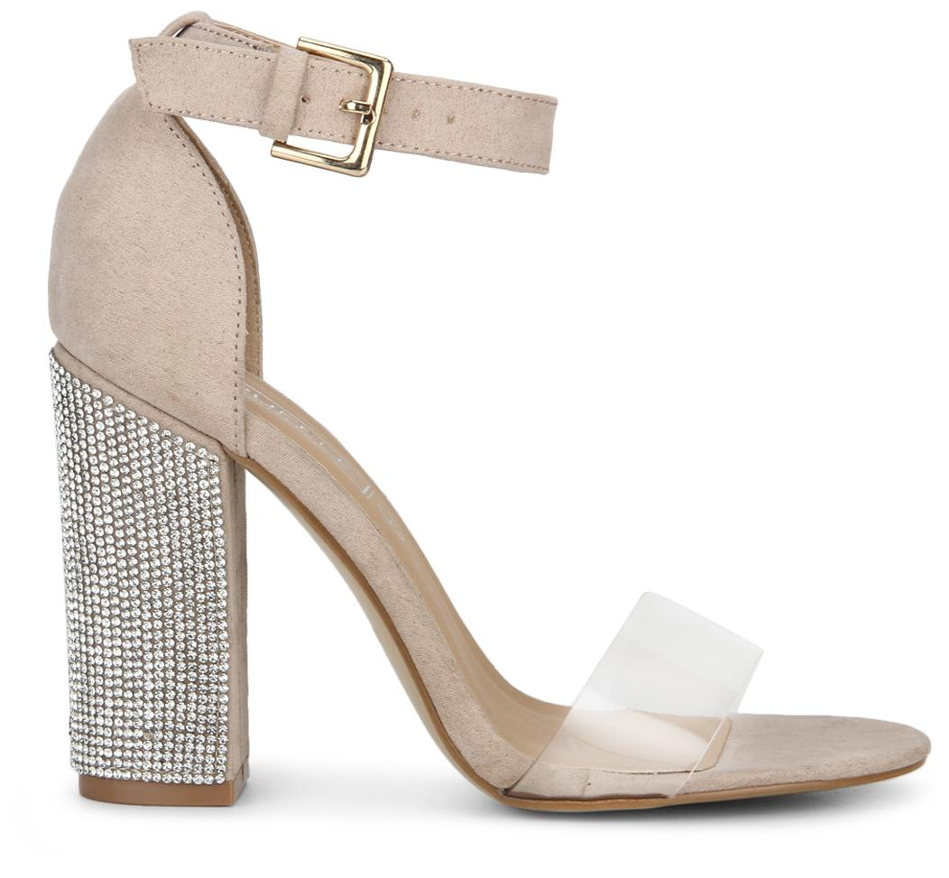 fb2bd9e1b6d8 Buy Truffle Collection Nude Patent PU Perspex Diamante Block Heels Online  at Low Prices in India - Paytmmall.com