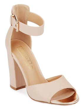 aa7aa7bc352 Truffle Collection Nude PU Ankle Strap Block Heels