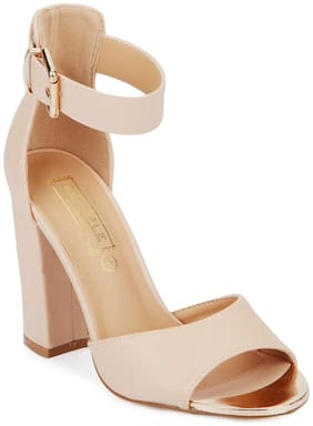 Truffle Collection Nude PU Ankle Strap Block Heels