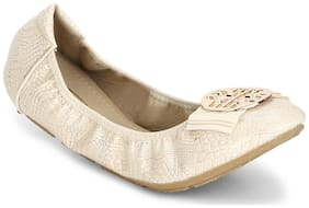 Truffle Collection Nude PU Bow Belly Flats
