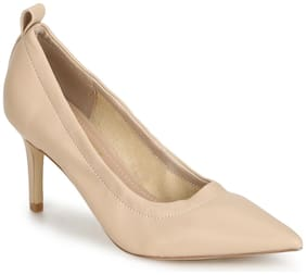 Truffle Collection Nude PU Pointed Toe Pump Stilettos