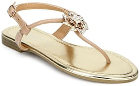 Truffle Collection Nude Rose Embellished Ankle Strap Flat Sandals