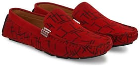 Ovexa Men Red Loafers - DRIVING LOAFER