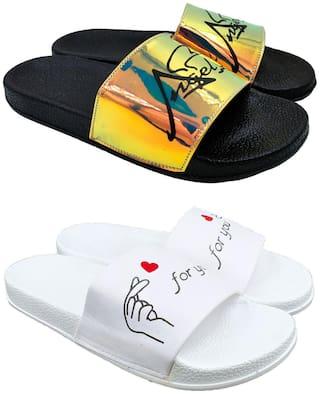 Pampys Angel Flip Flops For Women ( Multi-Color ) 2 Pairs