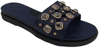 Pampys Angel Sliders For Women ( Navy Blue )