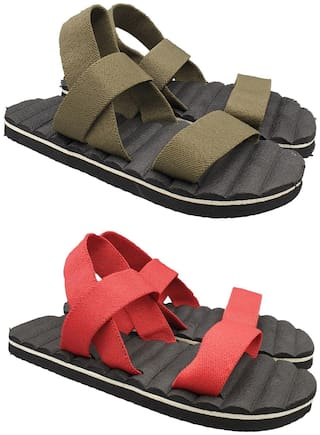 Pampys Angel Sandals For Men ( Green , Red ) 2 Pairs