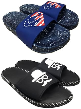 Pampys Angel Sliders For Men ( Blue & Black ) 2 Pairs