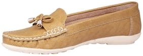 Papsara Beige Synthetic Stylesh Women's Loafers Shoes