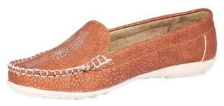 Papsara Dark Tan Synthetic Stylesh Women's Loafers Shoes