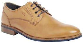 Park Avenue Solid Leather Khaki Shoes For Men