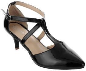 Women Sherrif Shoes Black Kitten Heels