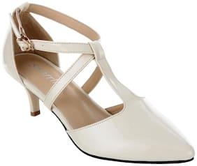 Women Sherrif Shoes Cream Kitten Heels
