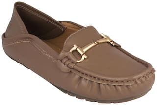 Pelle Albero Womens Khaki Comfortable Loafer