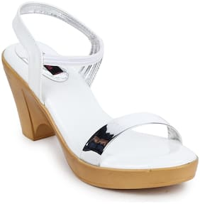Picktoes White Block Heel