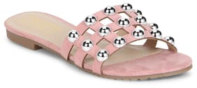 Truffle Collection Pink Micro Beaded Slip-On Flats