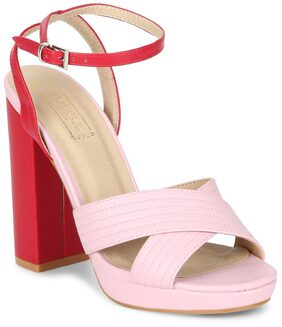 Truffle Collection Pink PU Ankle Strap Crossover Block Heels