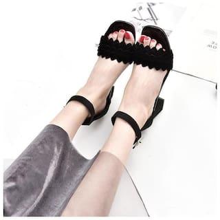 PKKART Women Black Sandals