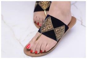 Pkkart Women's Black Flats and sandals