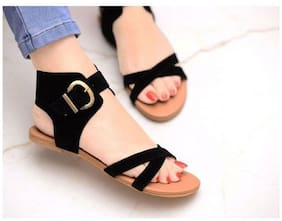 PKKART Women Black Sandals