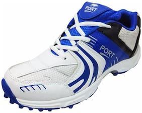 Port Men's White Razer PU  Cricket Shoes