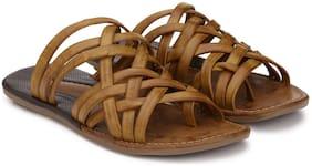 Prolific Men Tan Slippers & Flip-Flops